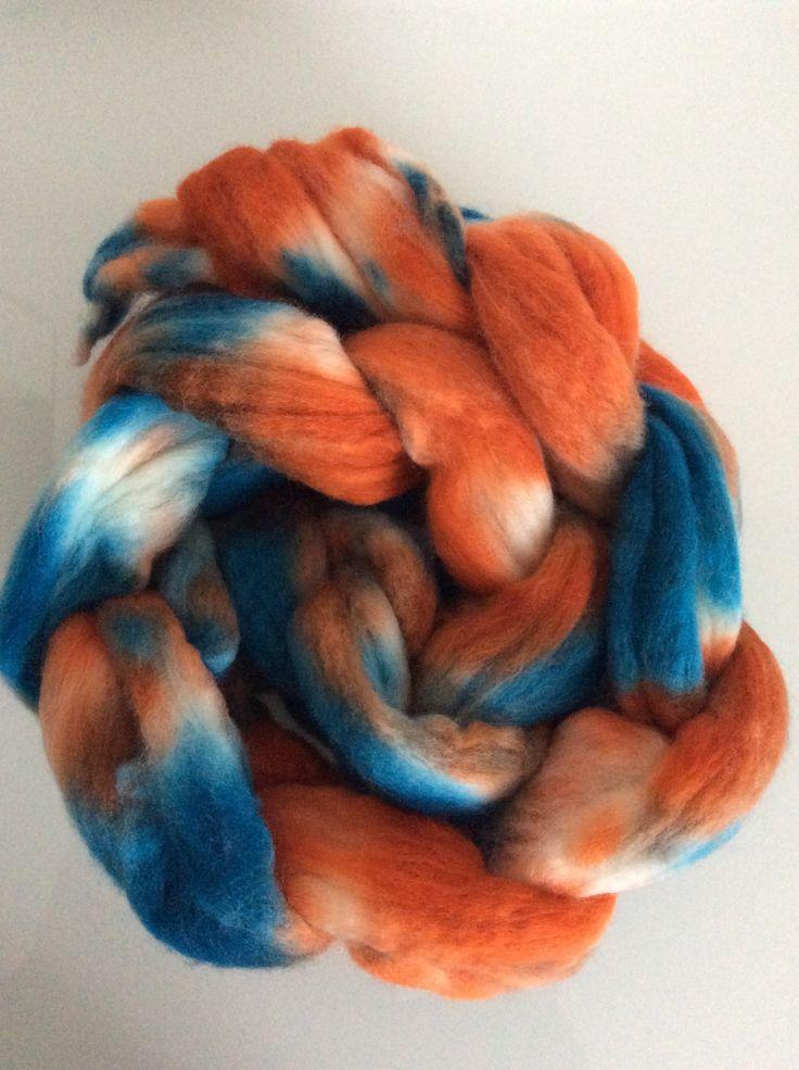 Kammzug, handgefärbt, türkis/orange von FilzWollLust auf Etsy