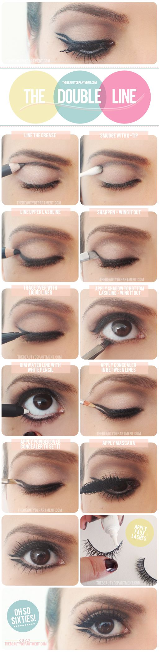 Double eyeliner tutorial for a retro-chic makeup look