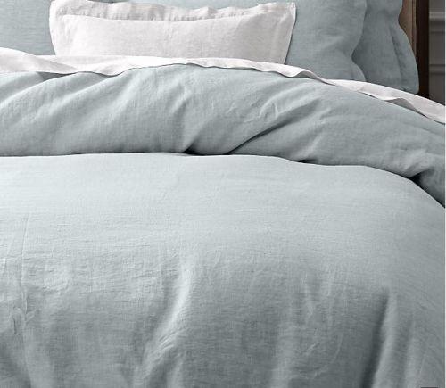 NEW Noble Excellence VILLA Signature Vintage Washed Linen KING Duvet Cover, BLUE #NobleExcellence