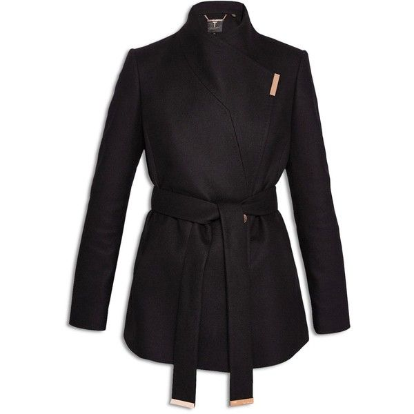 Ted Baker Keyla Short Wrap Coat ($328) ❤ liked on Polyvore featuring outerwear, coats, ted baker, belted coats, belted wrap coats, shiny coat and ted baker coat