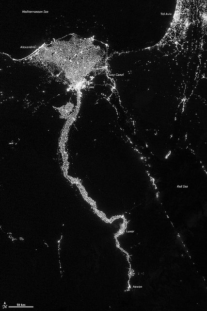 City Lights Illuminate the Nile    NASA image acquired October 13, 2012    The Nile River Valley and Delta comprise less than 5 percent of Egypt's land area, but provide a home to roughly 97 percent of the country's population. Nothing makes the location of human population clearer than the lights illuminating the valley and delta at night.