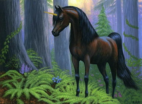 Unicorn Horse Forest Fantasy Limited Edition Aceo Print