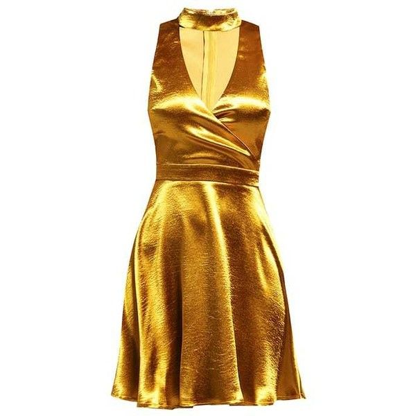 Missguided Cocktail dress Party dress gold ($47) ❤ liked on Polyvore featuring dresses, gold cocktail dress, brown dress, brown cocktail dress, yellow gold dress and gold dress