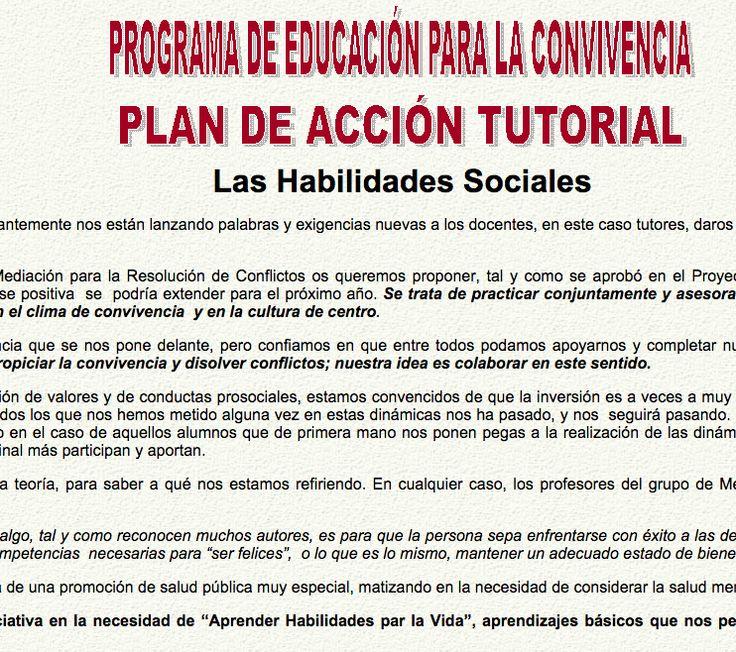 PROGRAMA DE EDUCACIÓN PARA LA CONVIVENCIA PLAN DE ACCIÓN TUTORIAL Las Habilidades Sociales