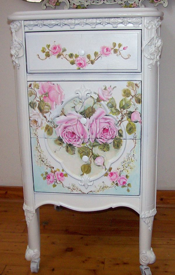 Antique French Night Table Roses