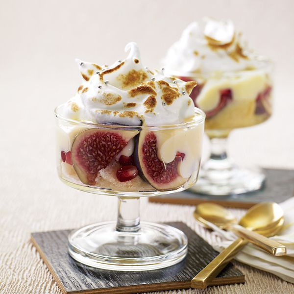 Try this trifle with a difference. Made with sponge cake, Marsala, figs, white chocolate and pomegranate – it's an impressive dinner party dessert recipe.