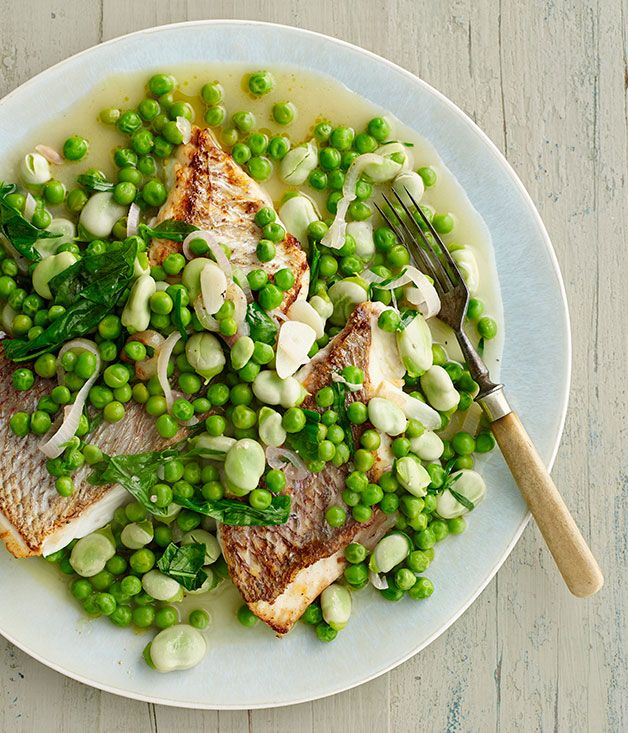 Pink snapper with braised peas and broad beans recipe | Fast recipe | Gourmet Traveller recipe - Gourmet Traveller