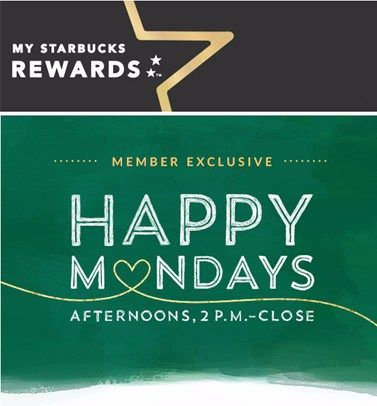 Starbucks Happy Monday Offers (Every Monday in March) - http://couponsdowork.com/coupon-deals/starbucks-happy-mondays-march-2016/