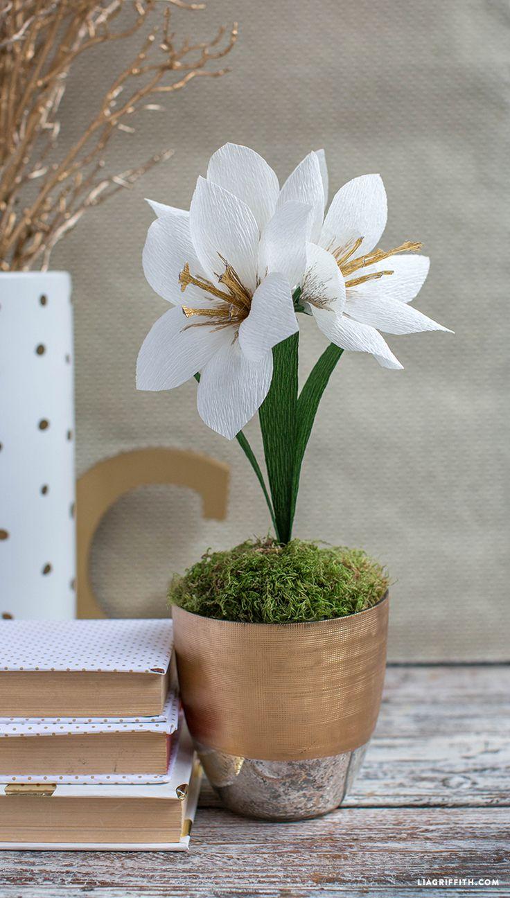 #crepepaper #paperflowers #diyamaryllis #flowermaking #paperart www.LiaGriffith.com: