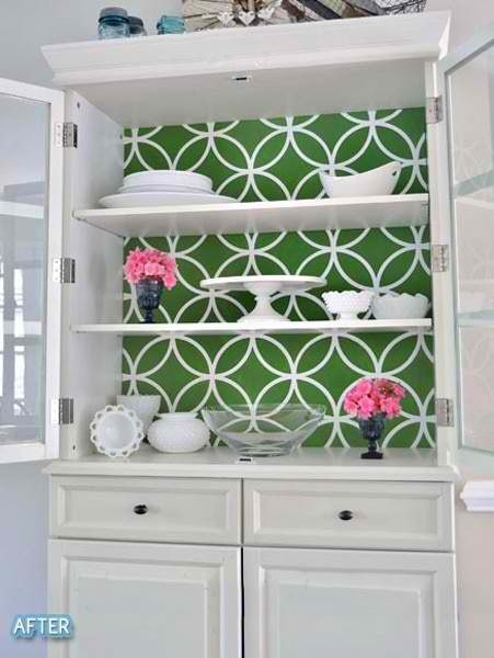 Wallpaper inside shelves | walls-Paint-Wallpaper-Stencils | DIY Furniture, Home Decor, China cabinet