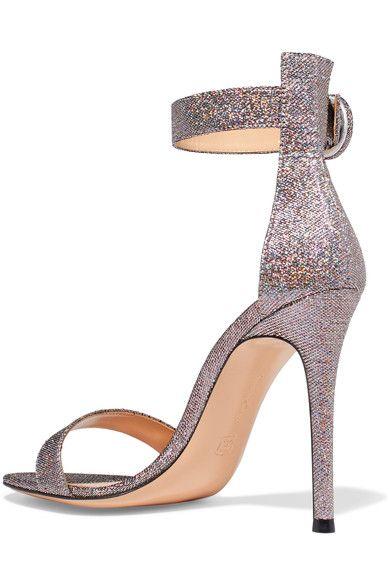 Gianvito Rossi - Portofino Textured-lamé Sandals - Silver - IT38.5