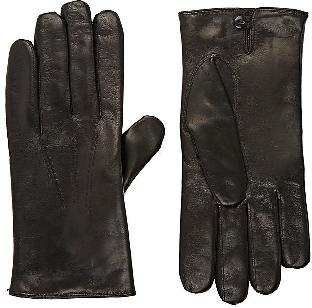 Barneys New York Men's Leather Gloves-BLACK