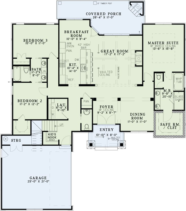 Craftsman Style House Plan - 3 Beds 2.5 Baths 2091 Sq/Ft Plan #17-2574 Floor Plan - Main Floor Plan - Houseplans.com
