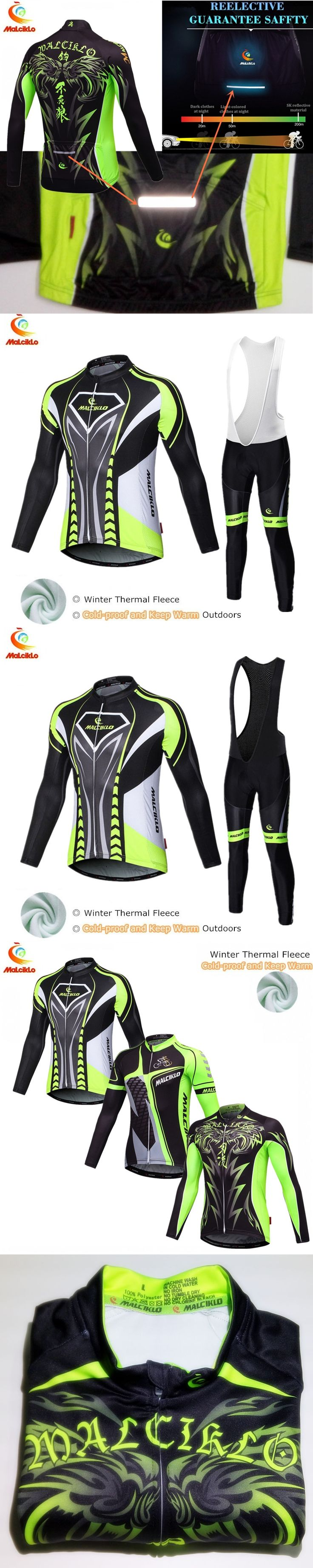 Malciklo Pro cycling jersey winter thermal fleece uniform maillot ciclismo invierno bike mtb winter cycling clothing men