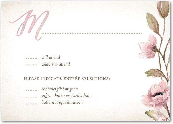 Delightful Blooms - Signature White Wedding Response Cards in Bubblegum or Violet | Lady Jae