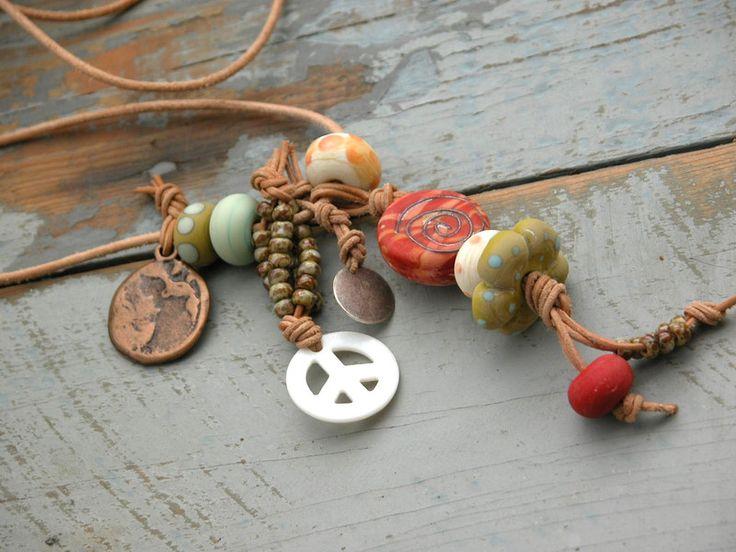 Hippie-Style ★ STERN ★ Lederkette ★ Lederband ★ von farblos-cool auf DaWanda.com
