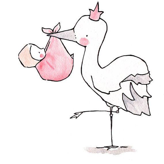 Stork Queen/King  8x10 Nursery Art Illustration Print, Pink, Blue