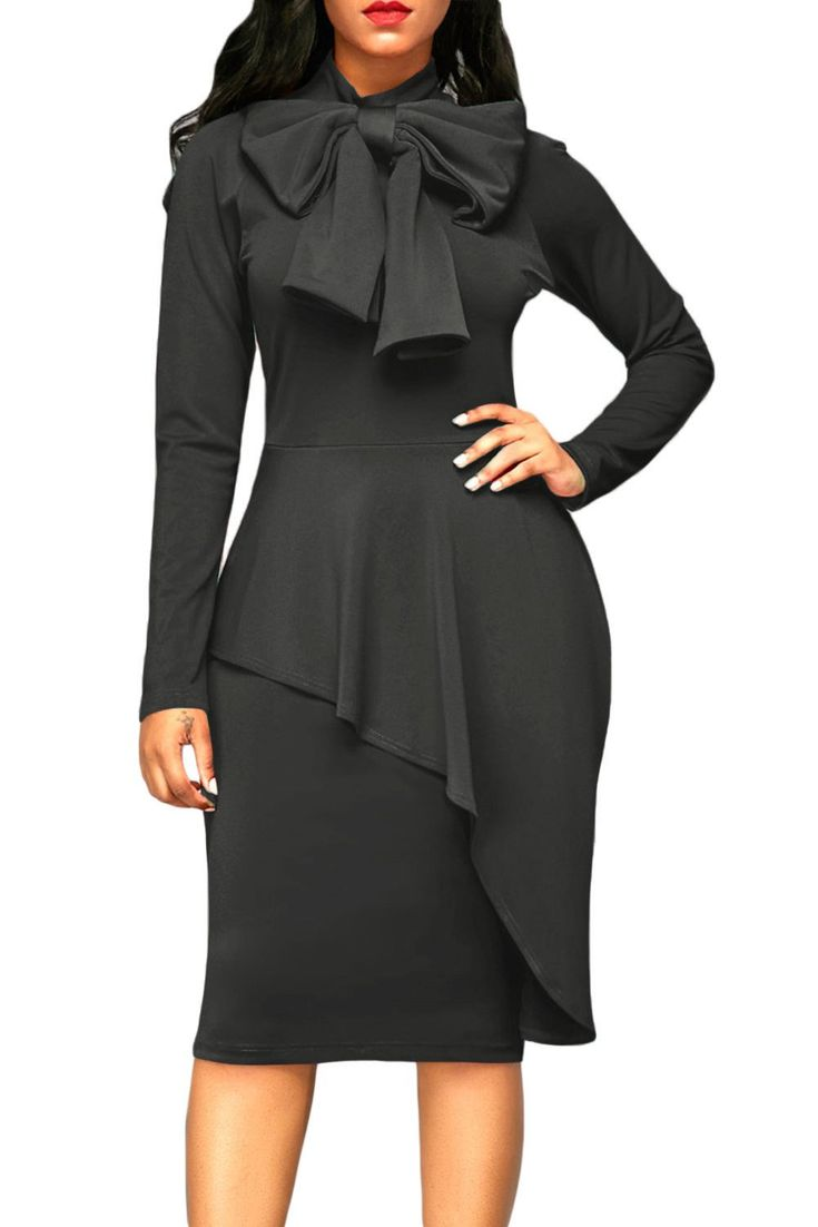 New arrival: Chicloth Grey Lon... Don't Miss it out!  http://chicloth.com/products/chicloth-grey-asymmetric-peplum-style-pussy-bow-dress?utm_campaign=social_autopilot&utm_source=pin&utm_medium=pin