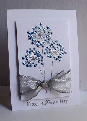 I'm in Haven: October 2012. Penny Black Constellations Flowers stamp, versamark w/ silver EP, 3 shades of blue liquid pearls, sentiment from PI Christmas Blessings.