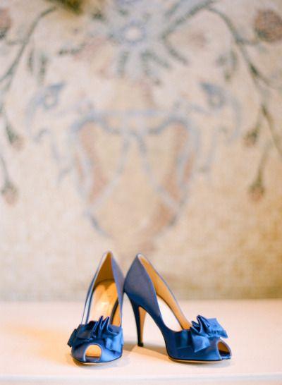 Ruffled blue wedding shoes