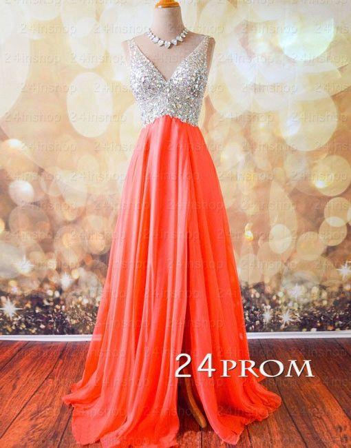 A-line Chiffon Sequin Rhinestone Long Prom Dresses, Formal Dresses – 24prom #prom #promdress #promdresses #longpromdress #redpromdress #reddress #dress #dresses
