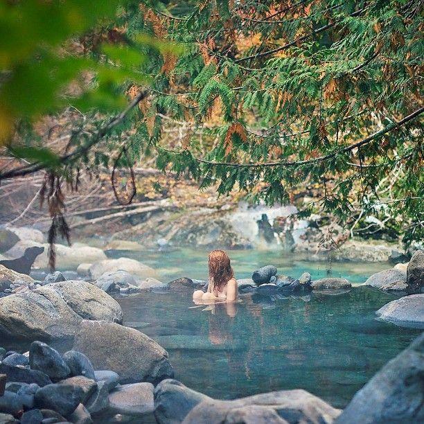Relaxing in Sloquet Hot Springs near Whistler. Photo: @dream_and_wander via Instagram