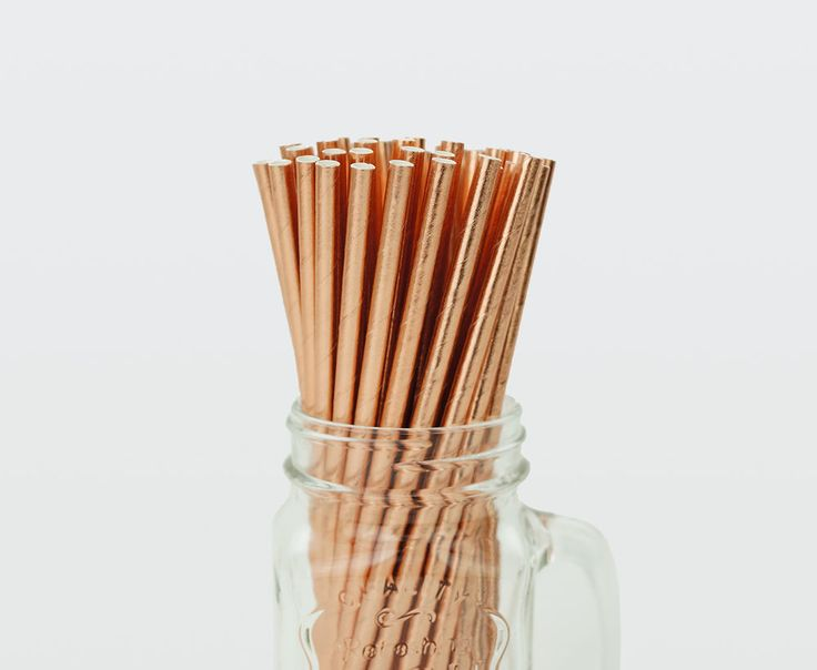 25 x Rose Gold Foil Coated Paper Straws Drink Wedding Party Event Solid Straw