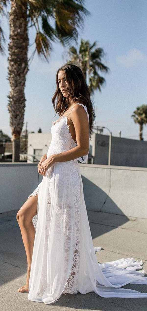 1e8f1fc583d A-line Spaghetti Strap White Lace Chiffon Beach Wedding Bridal Dresses  WD290  weddingdress  beachweddings  chiffon  beachweddingdress   weddingdresses  white