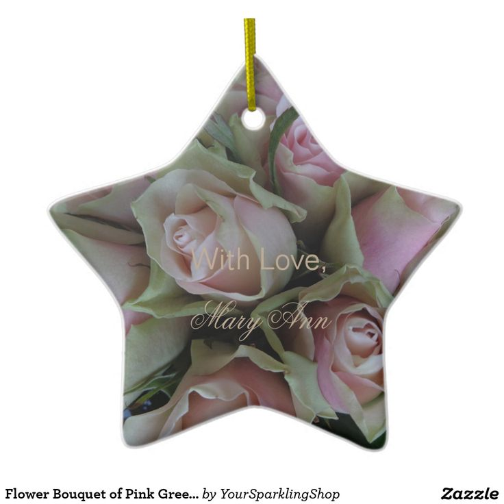 Flower Bouquet of Pink Green #Roses #Floral Ceramic #Ornament, you can change the text