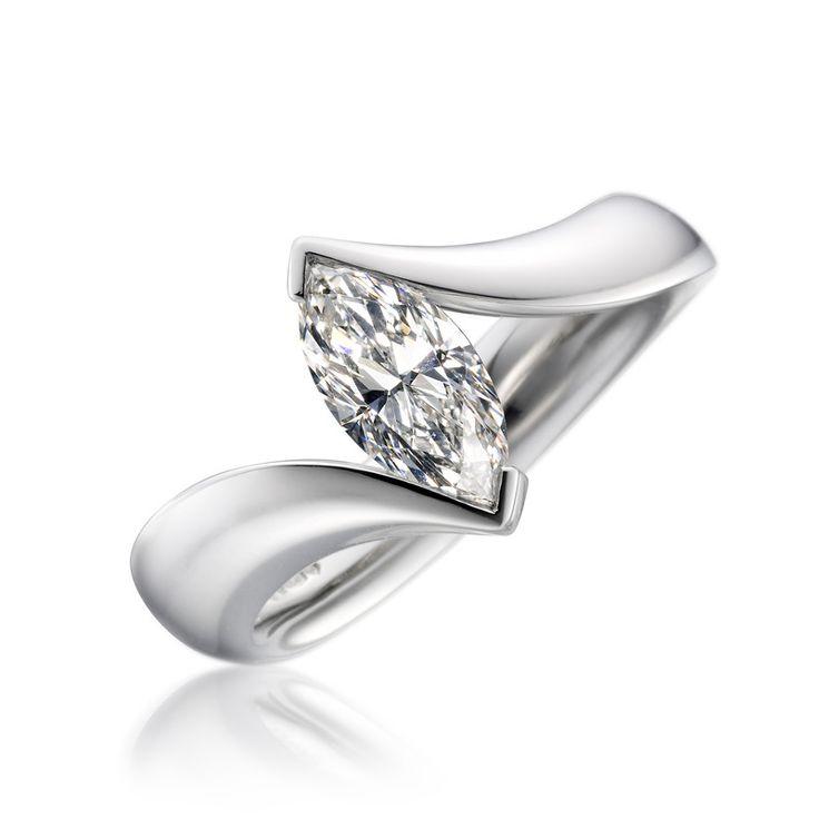Paul Spurgeon // Single stone marquise-cut wave diamond ring // Contemporary Engagement Rings and Diamond Jewellery