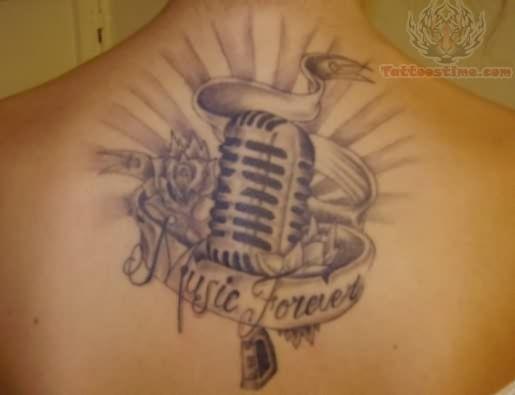 Upper Back Music Tattoo