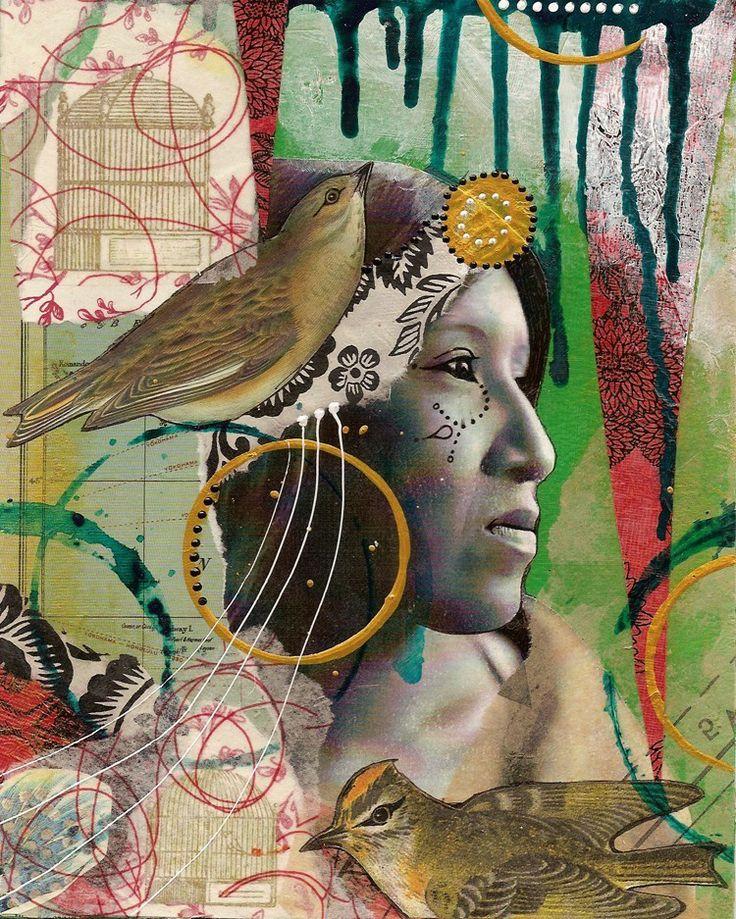 native american and bird art print. $30.00, via Etsy.