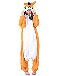 Aivtalk - Pyjama Combinaison Animaux Grenouillère Déguisement Carnaval Adulte Homme Femme Cosplay Costume Kigurumi Licorne Renard Ecureuil 155-185cm