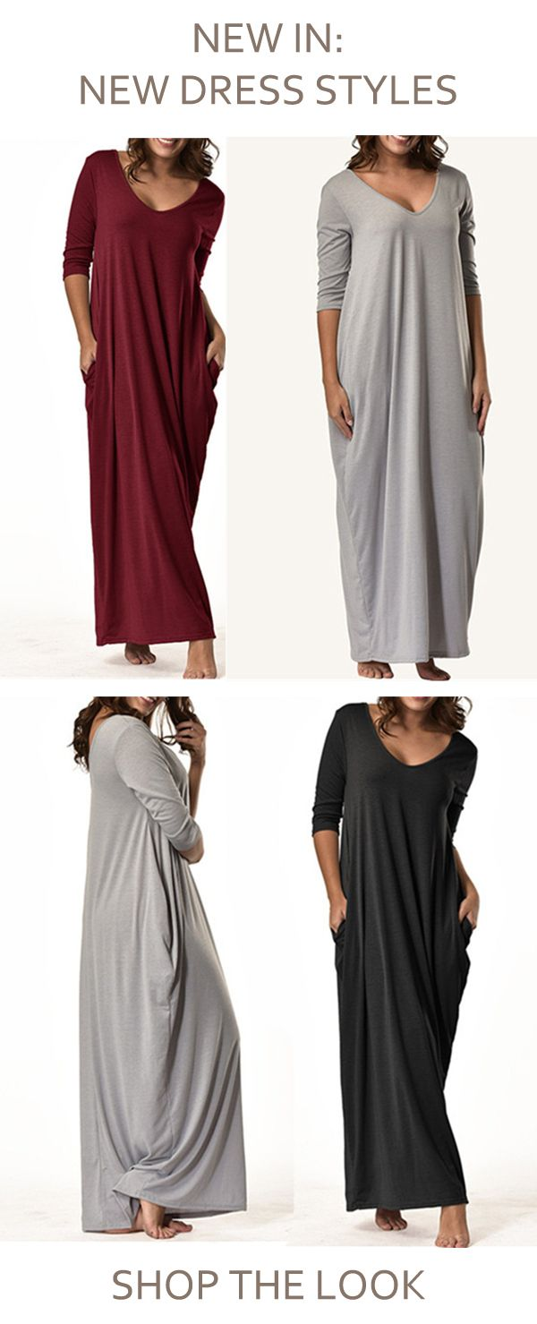 This Long Sleeve Cotton Blend Casual Maxi Dress Is Just In Which Makes You Feel Cozy And Warm In Maxi Dresses Casual Long Dress Casual Dresses Casual Winter [ 1479 x 600 Pixel ]