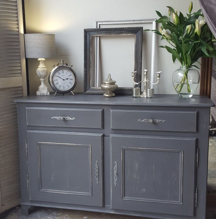 This is such a lovely very large and solid piece.  Painting in a custom charcoal coloured chalk paint, slightly distressed then sealed with a clear wax.