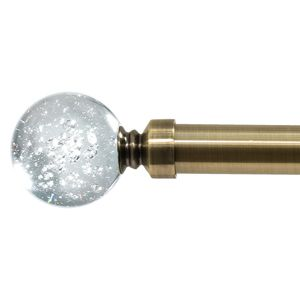 28mm Allure Classic Antique Brass Glass Bubbles Eyelet Curtain Pole Ready Made Curtain Pole
