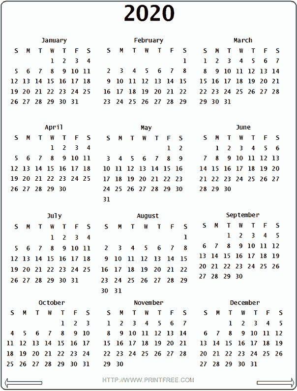 2020 Printable Calendar Uk Printable Yearly Calendar 2018