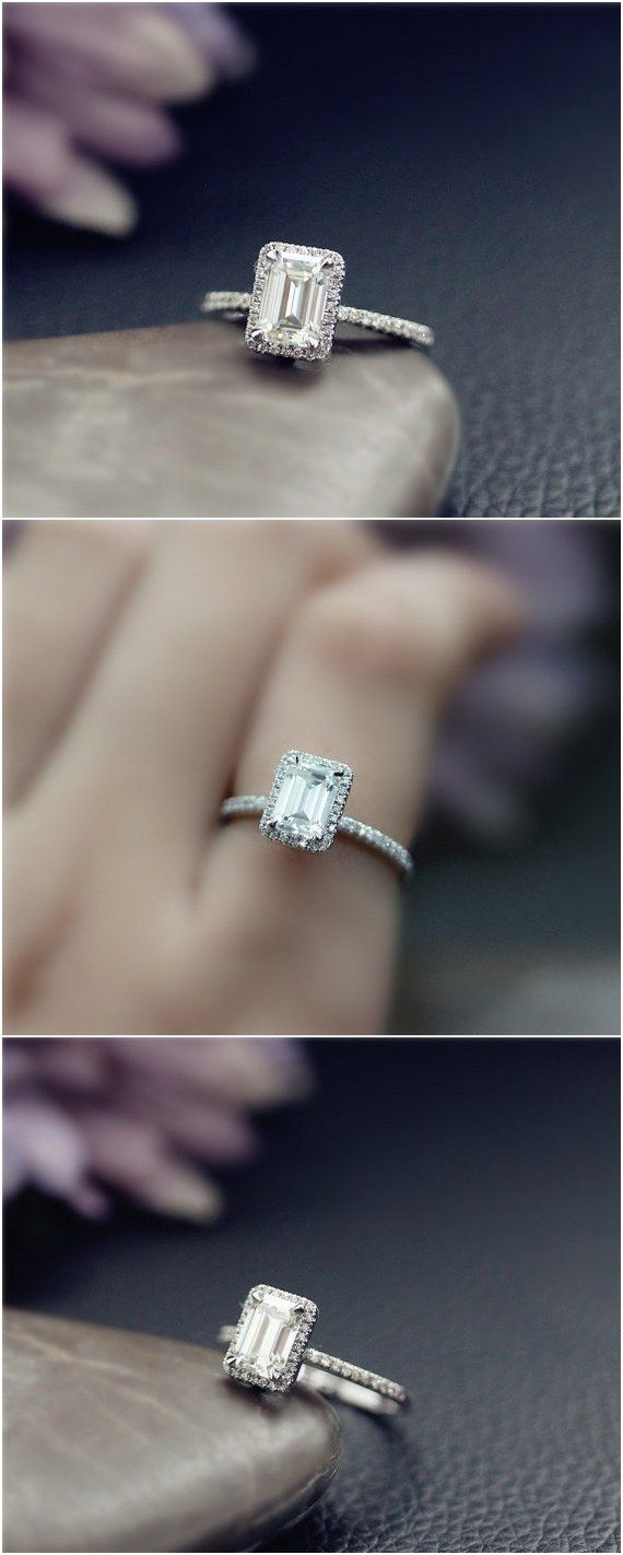 Emerald Cut Moissanite Engagement Ring / http://www.deerpearlflowers.com/emerald-cut-engagement-rings/2/