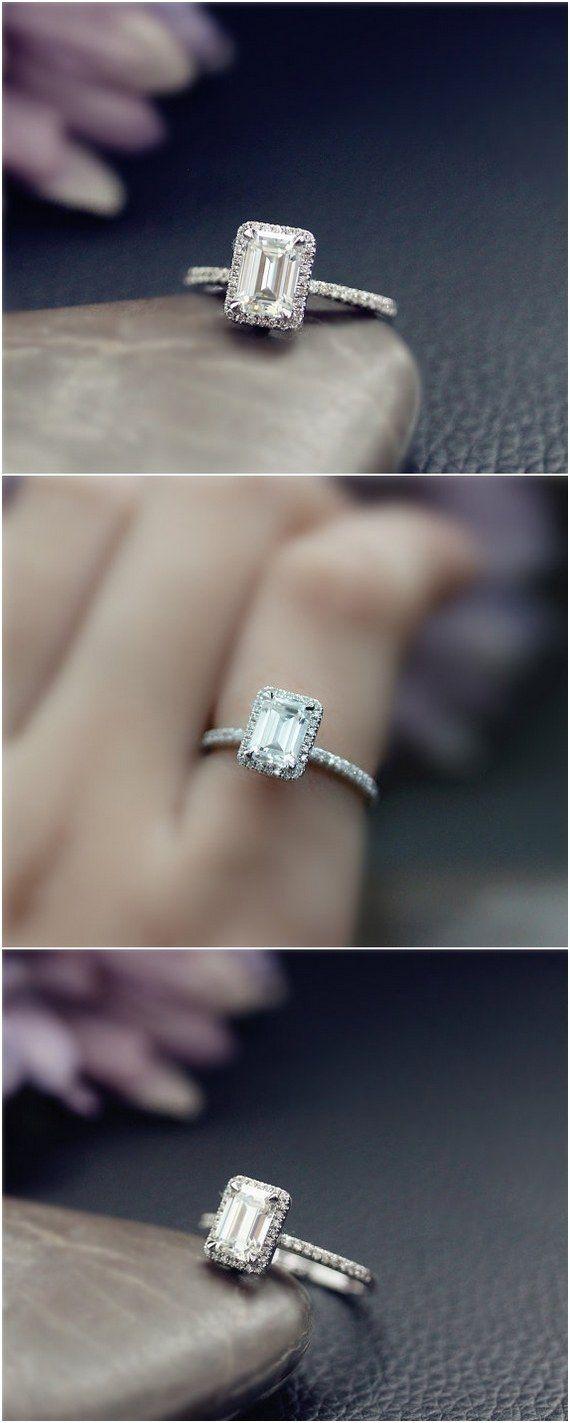 Emerald Cut Moissanite Engagement Ring / http://www.deerpearlflowers.com/emerald-cut-engagement-rings/2/