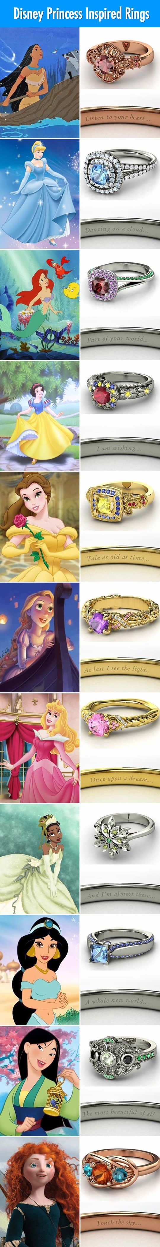 Disney Princess Inspired Rings | Snow White's and Merida's are my favorites.
