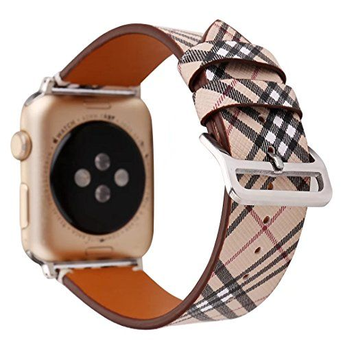 TCSHOW For Apple Watch Band 42mm42mm Soft PU Leather Pastoral/Rural Style Replacement Strap Wrist Band with Silver Metal Adapter for Apple Watch Series 3 Series 2 Series 1 (Z8)