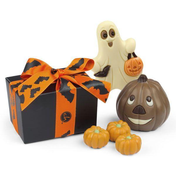 Czekoladowe dynie, słodkie duszki i mroczny, czarny kartonik z którego wysypią się małe, pomarańczowe dynie. Zestaw idealny na #Halloween #chocolate #chocolissimo