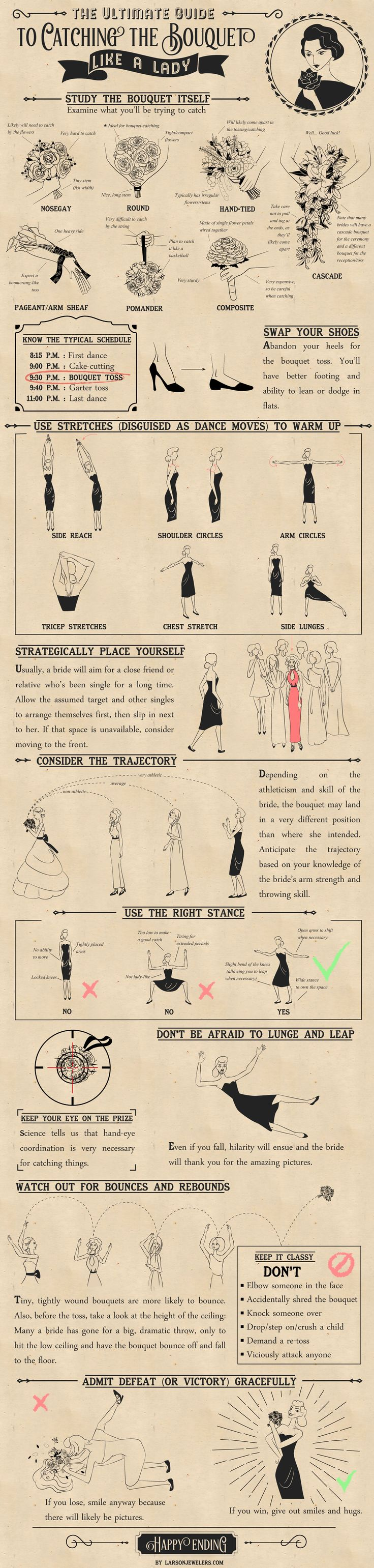 The Ultimate Guide to Catching the Wedding Bouquet Like a Lady #infographic #Wedding