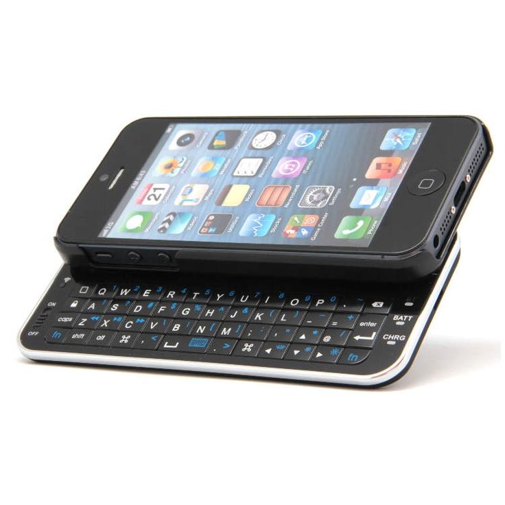 Funda teclado Bluetooth para iPhone 5     Material: plástico ABS     Bluetooth V2.0     Batería integrada de 180mAh, recargable vía USB     Autonomía en uso: 12 horas     Autonomía en stand-by: 72 horas     Tiempo de carga: de 2 a 3 horas     Teclado qwerty europeo sin letra ñ     Dimensiones / Peso: 16 x 12 x 2.7 cm / 80g.     Contenido:         Teclado Funda Bluetooth iPhone 5.         Cable cargador MicroUSB Precio 40€ iva incluido 2 años de Garantia
