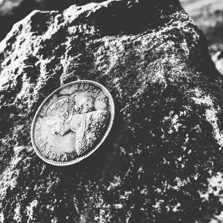 #black and white #close up #coin #design #dirty #metal #money #queen #rock #rough #stone #surface #symbol