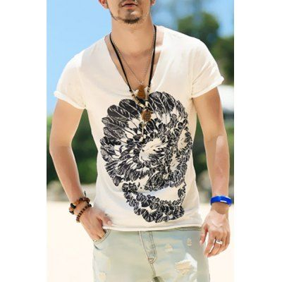 Just US$9.12, buy White Modish Round Neck Special Skull Pattern Short Sleeve Men's T-Shirt online shopping at GearBest.com Mobile.