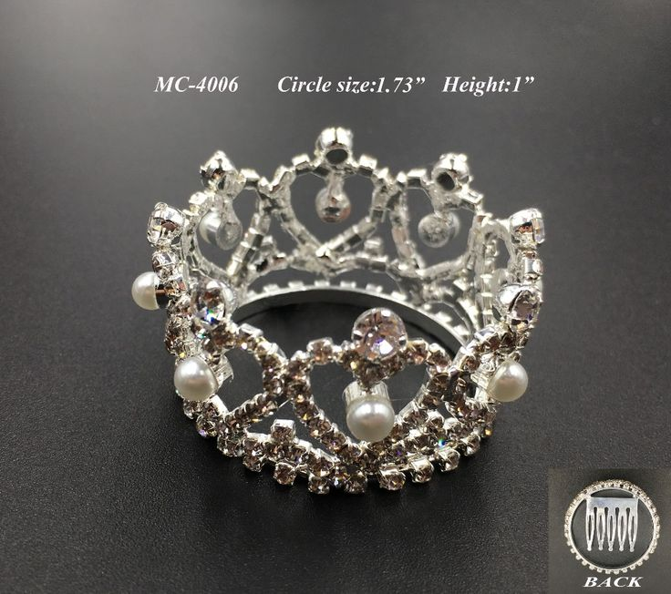 free shipping 1pc mini circle heart pearl crystal rhinestone comb crown tiara for kid birthday party