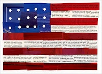 Flag collage made from magazine pages