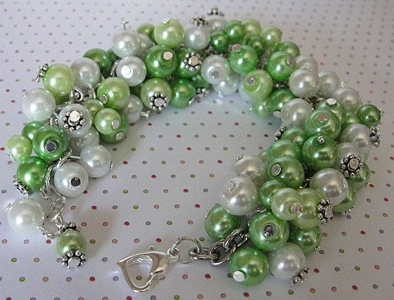 Glass PEARL Cha Cha  Cluster Bracelet--Gorgeous GREENS and Whitest White- Pewter Daisy Caps--Great Accessory by YUMMYPLEASURES, $24.99 USD
