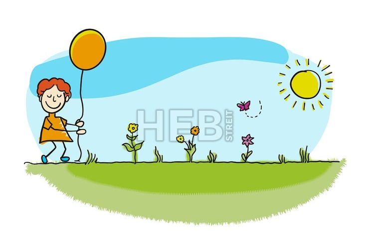 Pretty stickman boy walking with balloon. Hand-drawn sketches doodles in beautiful outfits and costumes. Modern vector illustration isolated in cartoo... ... #vector #doodle #sign #kids #kindergarten #sign #graphic #banner #design #hebstreit